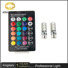 Factory supply T10 5050 6SMD RGB with Remote Control Multi Colors auto car led interior music t10 rgb led car Changing LED Lamp