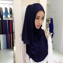 Solid color elastic one size fits modal tube shawl hijab caps muslim women