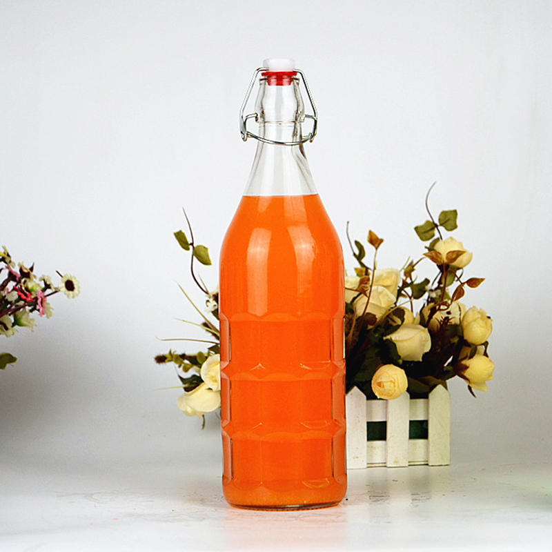 Round Swing Top Glass Bottles Swing Clip Top Bottle For Juice Milk