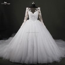 RSW786 Long Sleeve Cathedral Train Wedding Dresses Imperial Alibaba Bridal Gown 2015