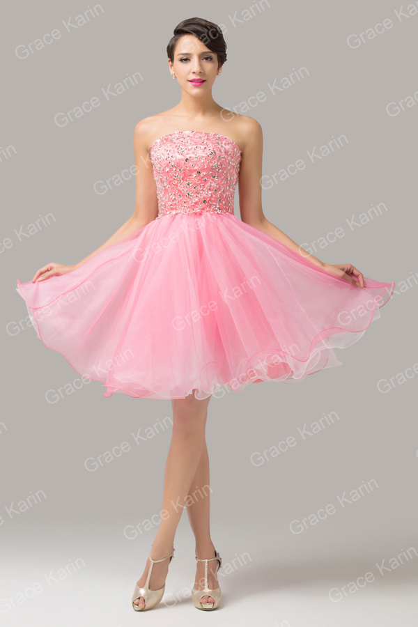 Grace Karin Nice Strapless Organza Beaded Girls Short Pink ...