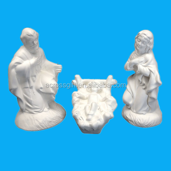 unpainted Ceramic Bisque - Ready to Paint - Nativity Set (3 Piece) - Mary, Joseph, & Baby Jesus