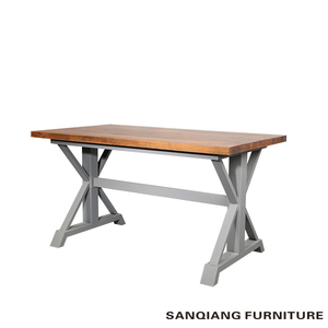 pine wood dining table Steel and wood combine table