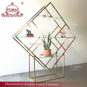 durable glass top gold stainless steel diamond bar back