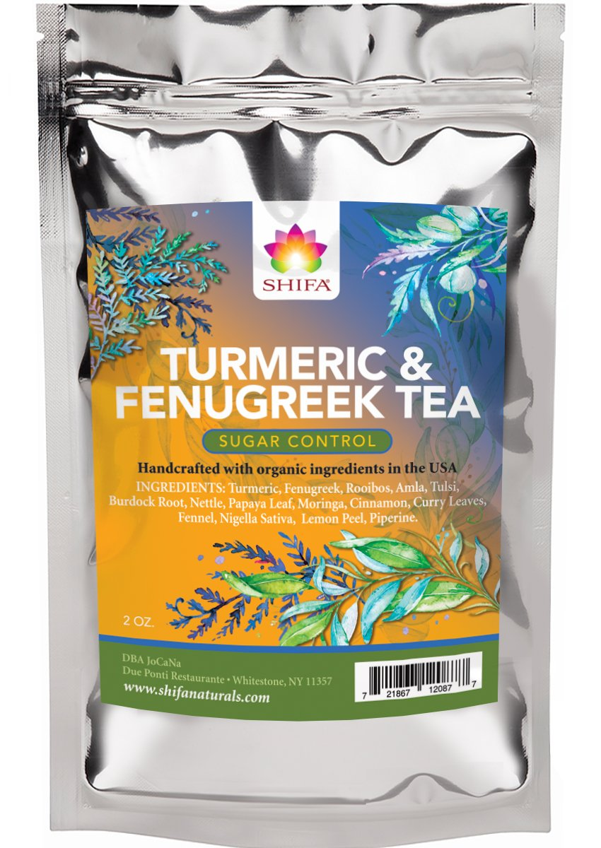 Shifa Sugar Control Tea (Turmeric and Fenugreek): Herbal Formula for Sugar Balance and Metabolism with Phytonutrients and Antioxidants — 1.75 oz.