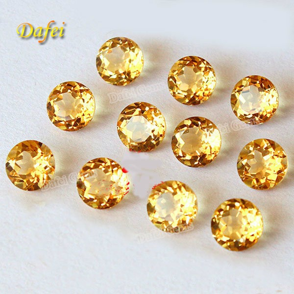 Round Brillant Cut Natural Citrine Semi-precious Stone