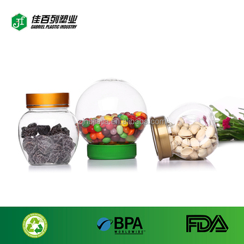 For children packaging candy PET bottle hot sale food storage jar customize logo ball plastic container