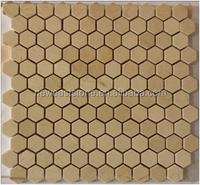 High quality yellow Cream Marfil Beige marble mosaic tile
