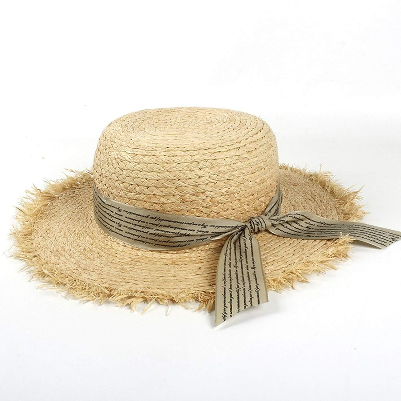 88747554d3d Get Quotations · Xiaojuan-us Womens Straw Hats Panama Sun Visor Raffia Hat  Letter Streamer Wide Brim Beach