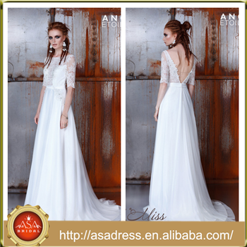 AE 24 Unique Sexy Open Back Half Sleeve Bridal Wedding Gowns 2016 Lace Applique See