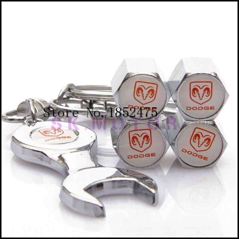 10 комплект белый Ram Logo нержавеющая сталь колесо автомобиля шина клапан шапки с Mini ключ и брелок