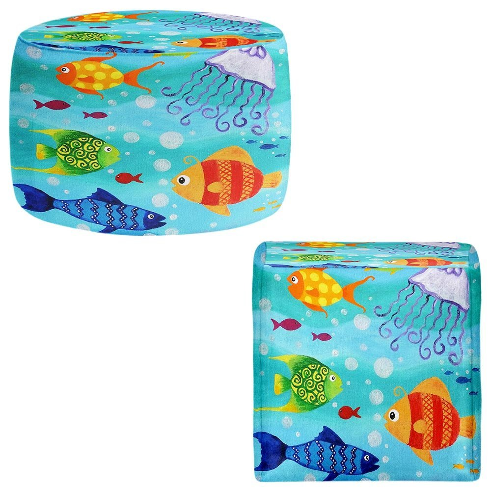 DiaNoche Designs Foot Stools Poufs Chairs Round or Square from by nJoy Art - Happy Fish
