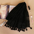 OEM black tudung bawal custom cotton linen lace shawl muslim long hijab