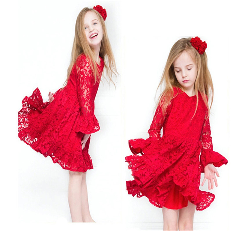 Christmas Party Dress Code Part - 46: Get Quotations · 2-8Y European Style Cute Infant Kids Lace Red Princess  Wedding Dress Flare Sleeve Elegant