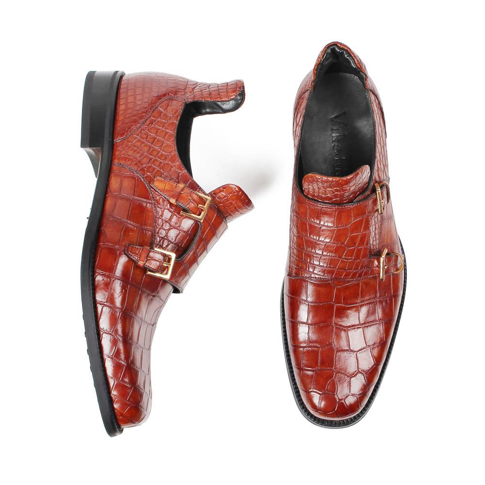 Vikeduo Buckle Crocodile Monk Strap Shoe Antique Mens Handmade New Italy Design Men Leather Shoes & Dress Shoes