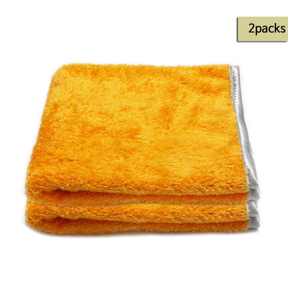 ** FREE SHIPPING & SALES 2 PCS ** Microfiber Car Buffing /Wax/Detailing Towels in ORANGE , Fluffy fine piles & Satin Wrapping border, ,15x23 '',Korean Quality Products Guarantee