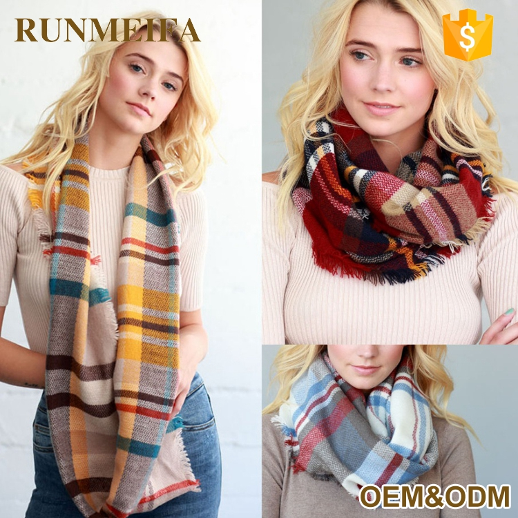 Fashion plaid infinity custom women 100% acrylic knit scarf for winter