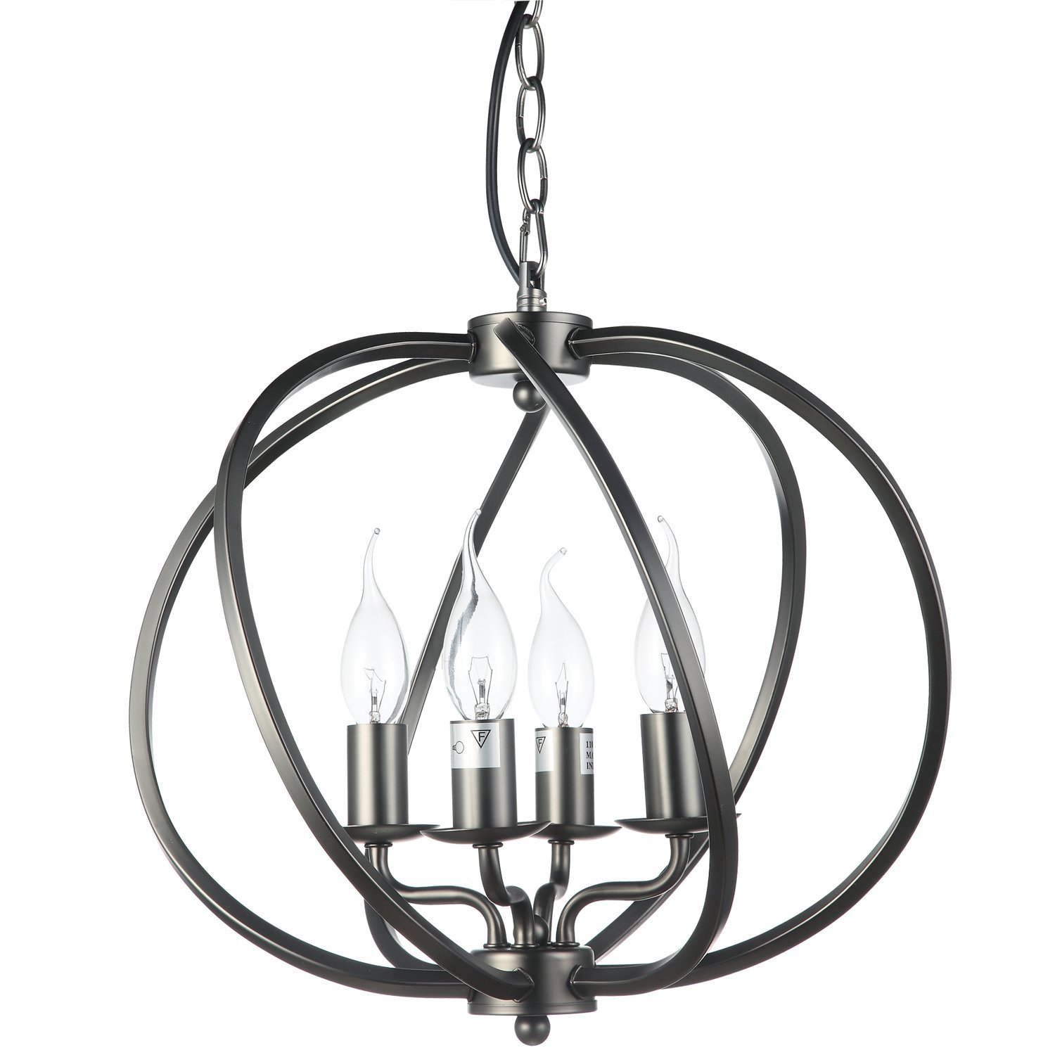 "VONN VTC31104BZ Transitional 16"" Led Chandelier, Industrial Globe Chandelier Lighting with LED Filament Bulbs, Adjustable Hanging Light, Sargas Collection, 15.74"" x 14.17"" x 45.67"", Architectural Bronze"