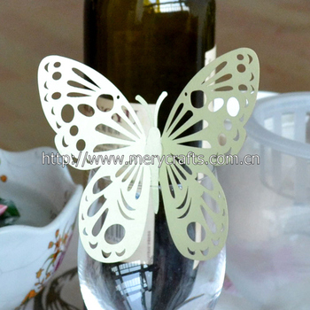 green butterfly Wedding Decoration cards For Wine Glass from china manufacturer