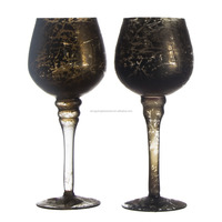 black color wine shaped 21cm tall stem clear glass goblet Candlestick candle holder for home & garden table centerpieces