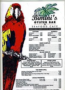 Bimini's Oyster Bar & Seafood Cafe Menu Myrtle Beach South Carolina Red Parrot