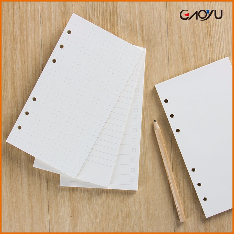 Office Supplies 6 Holes Filler Paper Loose Leaf Custom Printing Notebook