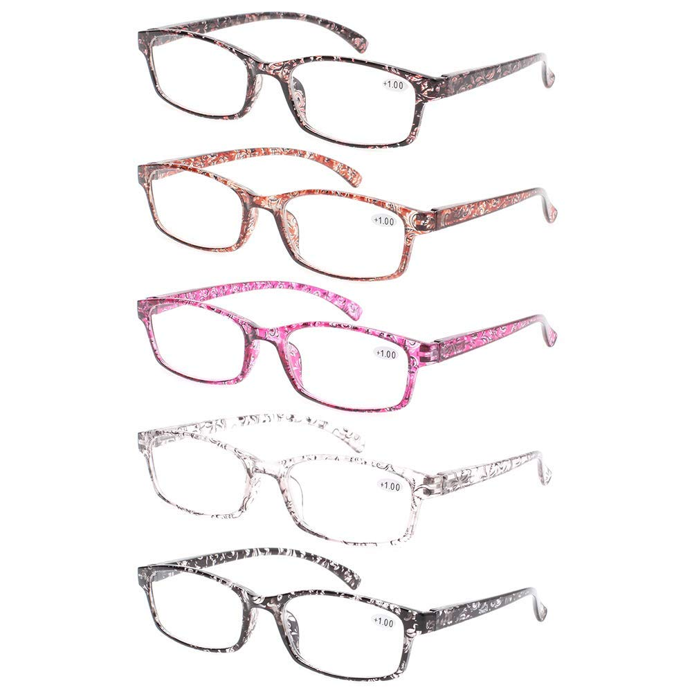 2cd66d60ff48 Get Quotations · JOSCHOO 5 Pack of Thin and Elegant Womens Reading Glasses  Quality Spring Hinge Readers
