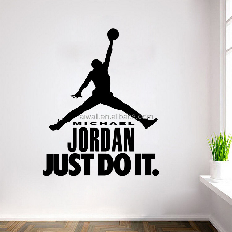 9334 Basketball Player Michael Jordan Character Vinyl Wall Stickers Just Do  It Quote Decals For Kids