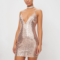Wholesale Latest Designs Sexy Women Backless rose gold plunge Bodycon Sequin Dress