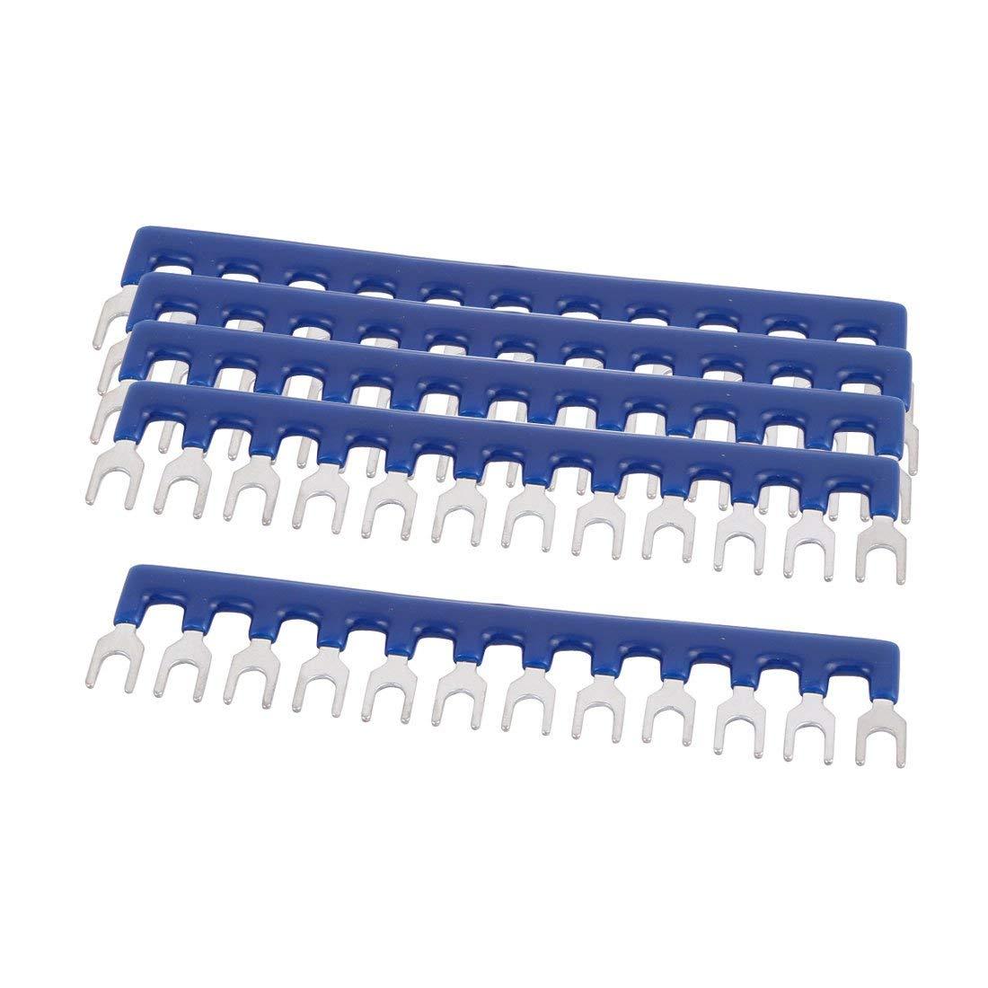 uxcell 5PCS TB-1512 600V 15A 5mm Pitch 12P PCB Terminal Block Strip Barrier Blue