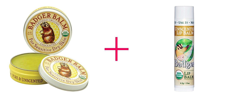 Badger Company, Badger Balm, For Sensitive Dry Skin, Unscented, 2 oz AND Badger Company, Organic Lip Balm, Unscented, .15 oz - BUNDLE