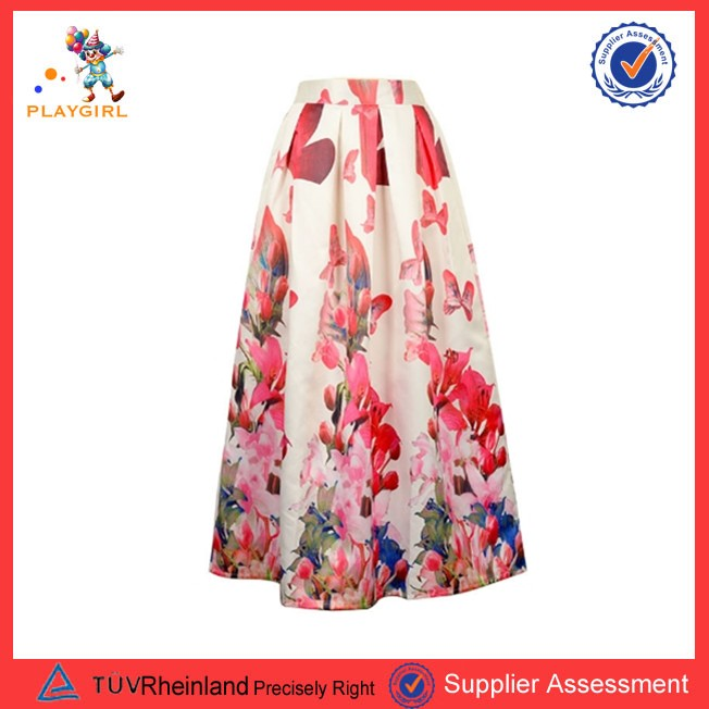 PGWC-3455 latest spring customized floral pattern printed ladies long silk skirt