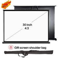 "30"" 4:3 Mini Portable Pico Portable Projection Screen, Wall Mount & Pull Up Desk Table Screen for Travel, outdoor cinema,meeting"