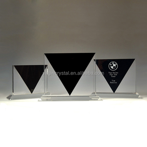 Elegant blank K9 crystal music trophy black glass award plaque