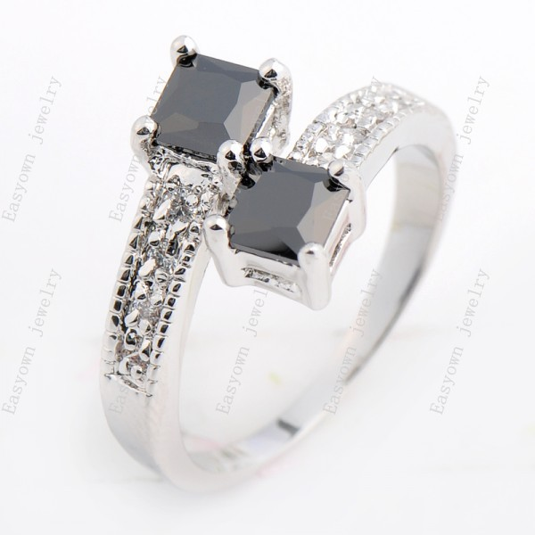 10ps/lot Size 5/6/7/8/9/10 Finger Rings For Women 10KT White Gold Filled Black Zircon Stone Ring Best Selling