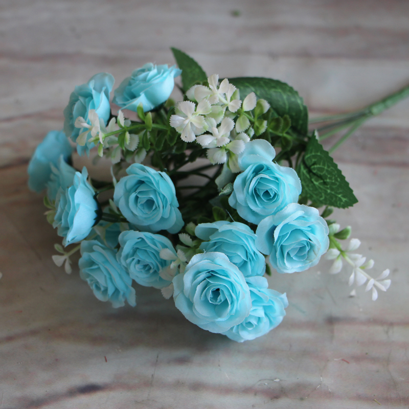 Pretty Charming <font><b>Elegant</b></font> 15 Buds 1 Bouquet 4 Colors Mini Rose Foam Artificial Silk Flower Bride Bridal Wedding <font><b>Home</b></font> <font><b>Decoration</b></font>