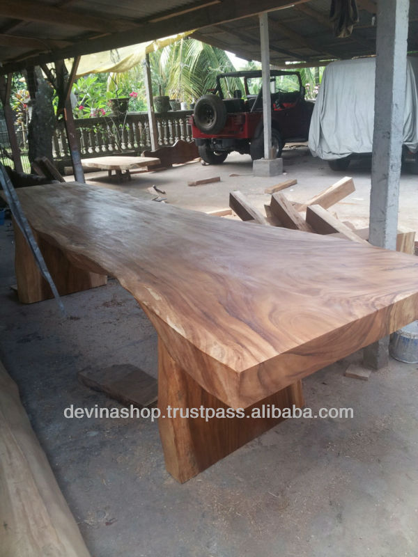 Acacia Wood Solid Slab Wood Dining Table 11,5 Ft
