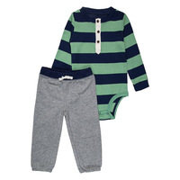 Baby boys & girls long sleeves stripes 2 pieces clothing set 0-24 month kids wear baby rompers