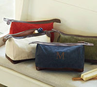 cotton with leather trim men dopp kits