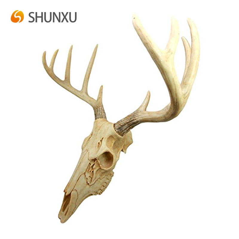 Atlantic Collectibles Resin Rustic Hunter Deer 8 Point Horns Skull Antler Rack Wall Mounted Plaque Trophy Decor Figurine