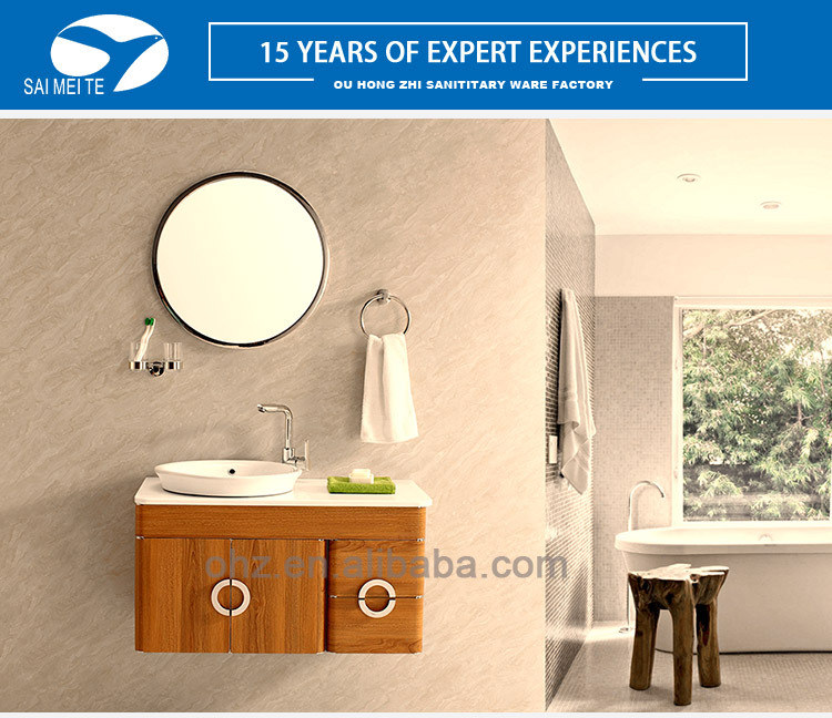Project decoration stainless steel bathroom wash basin mirror cabinet vanity with round mirror and towel ring