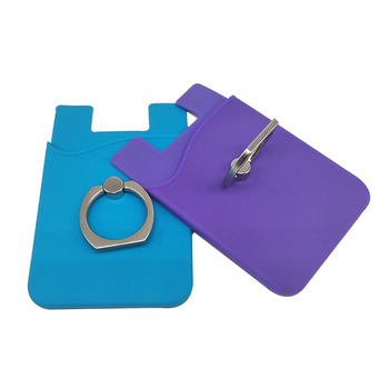 2019 Smartphone Stick On Silicone Adhesive Phone Wallet with Ring