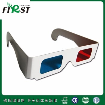 red/cyan cardboard glasses with logo printed customized design and shape in cheap price
