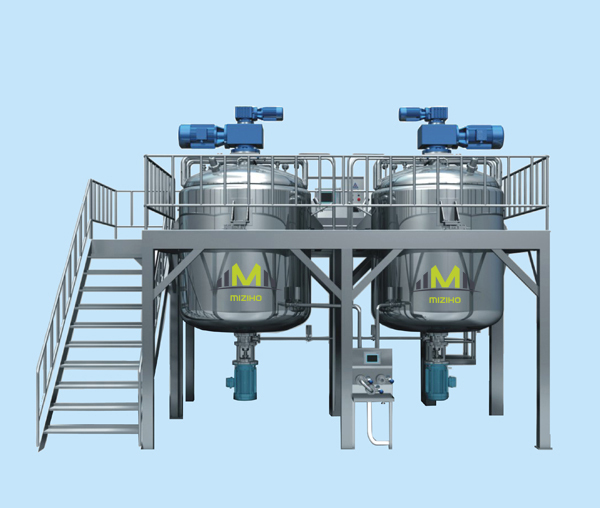 MZH-The newest and high quality Liquid vacuum emulsifying mixer machine for shampoo soap making line