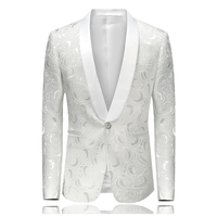 Mens Floral Printed Blazer Jacket Stage Costumes for Singers 2019 Fashion Shawl Collar Men Slim Fit Blazer White