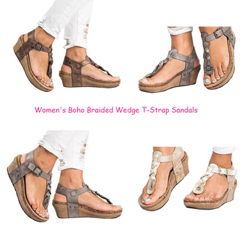 2b1c138b7741 Wholesale Chellysun Women s Boho Braided Wedge T-strap Sandals ...