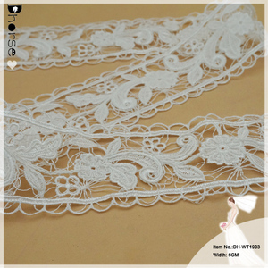 Fashion embroidery gathered cut work beads and pearls designs ruffle elastic decorative flower organza lace trim