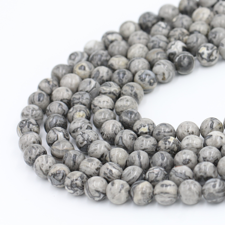 Wholesale Gemstone Stone Beads Natural Grey Color 10mm Picture Jasper Beads For Beading