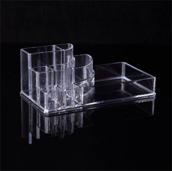 Wholesale Makeup Brush Make Up Storage Organizer Box Shelf New Clear Acrylic Plastic Nail Polish Rack Lipstick Holder