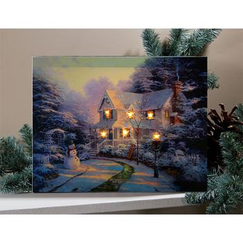 Sanatçı Noel Yağlıboya Tuval Boyama Kış Manzara Manzara Resimleri